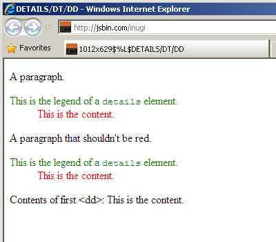 dd styled in IE8