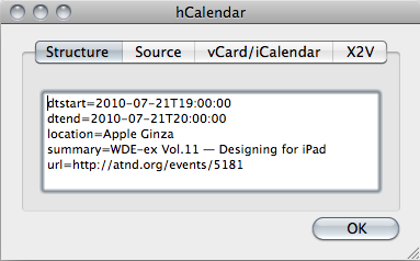 The Firefox Operator plugin's debug window, showing information about the current hCalendar