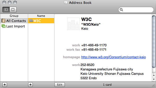 An hCard exported by Operator is automatically added to the address book