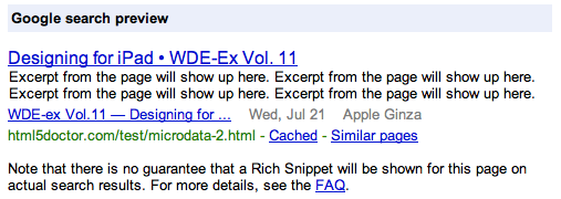 Google Rich Snippet testing tool preview, showing data we marked up using microdata