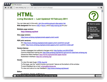 HTML — Living Standard specification screenshot