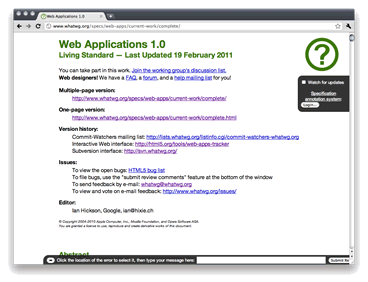 Web Applications 1.0 specification screnshot