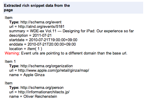 Data extracted from schema.org microdata by the Rich Snippet testing tool