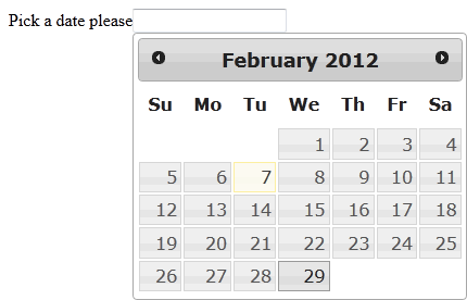 jQuery date picker widget