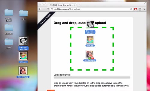 Drag and Drop and Automatically Send to the Server | HTML5