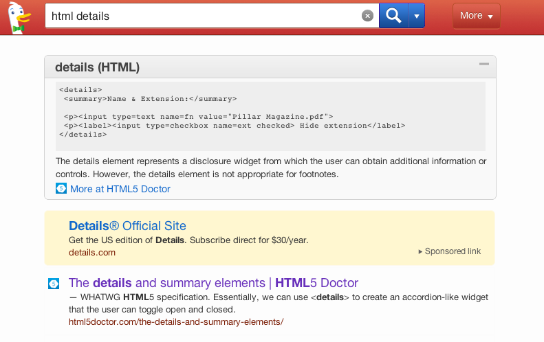 Screenshot from DuckDuckGo search
