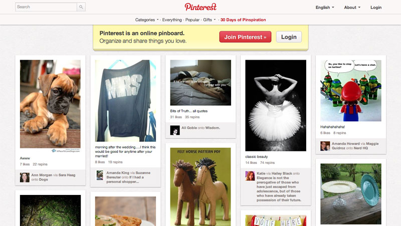 Pinterest Homepage Screengrab