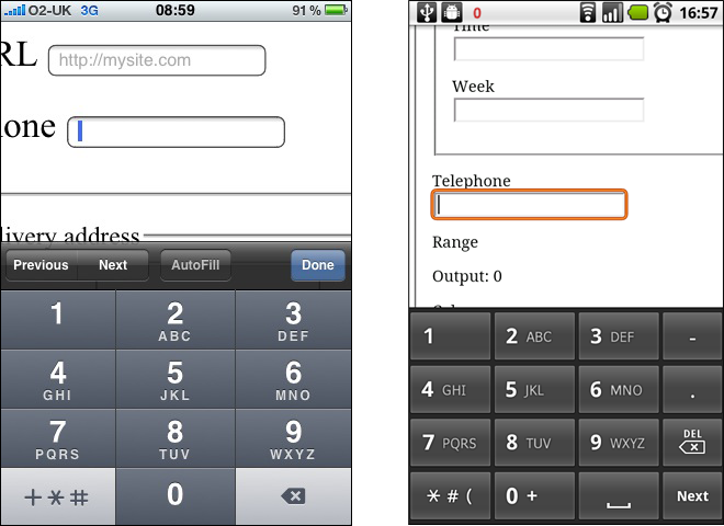 Screenshot of an iPhone and Android device with dynamic keyboard changing to a number input when the user is focussed on a tel input field