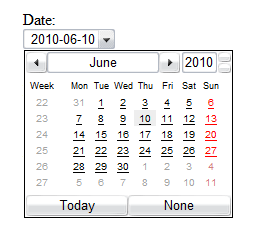Screenshot of the date input type rendered by Opera. There is a dropdown for the date and a calendar widget shown.