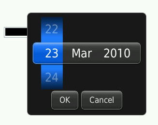 Screenshot of the date input type as rendered on a Blackberry. There are three spinners, one for day, one for month and another for year.