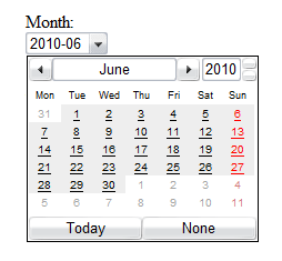 Screenshot of the month input type rendered by Opera. There is a dropdown for the date and a calendar widget shown with the current month highlighted.