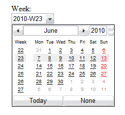 Screenshot of the week input type rendered by Opera. There is a dropdown for the date and a calendar widget shown with the current week highlighted.