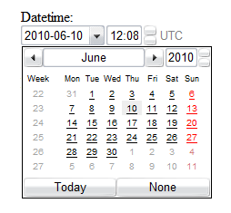 Screenshot of the datetime input type rendered by Opera. There is a dropdown for the date and a calendar widget shown with the current day highlighted. There is an input with a value of 12:08 and up and down arrows to the right of the input along with the text 'UTC'.