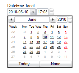 Screenshot of the datetime-local input type rendered by Opera. There is a dropdown for the date and a calendar widget shown with the current day highlighted. There is an input with a value of 17:08 and up and down arrows to the right.