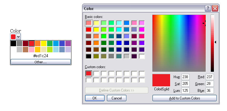 Screenshot of the color input type as rendered by Opera. There is a colour dropdown which when clicked shows a range of colours with an 'other' button. The right shows the dialog box opened when the user clicks 'Other' which is a standard operating system color dialog.
