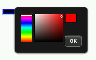 Screenshot of the color input type as rendered on a Blackberry. There is a colour spectrum with a hue box and a color preview alongside an 'OK' button.