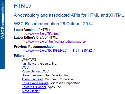 W3C HTML5 Recommendation