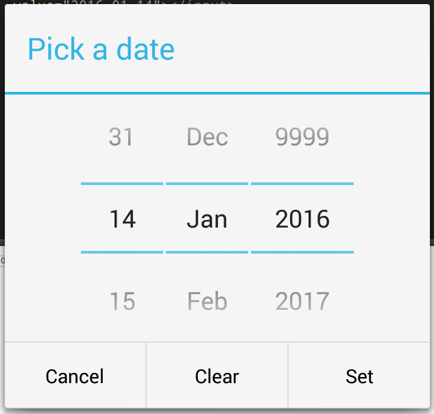 Screenshot of the native datepicker on Android 4.3, with a selected date and the previous year set to 9999