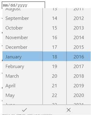Screenshot of the the Edge's datepicker, which displays a list of selectable dates with one highlighted and two buttons at the bottom, once with a tick and the other with an X